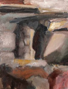 Sirkka Laakkonen, Finland, Rocks, 2020, oil on canvas, 29 x 18 cm