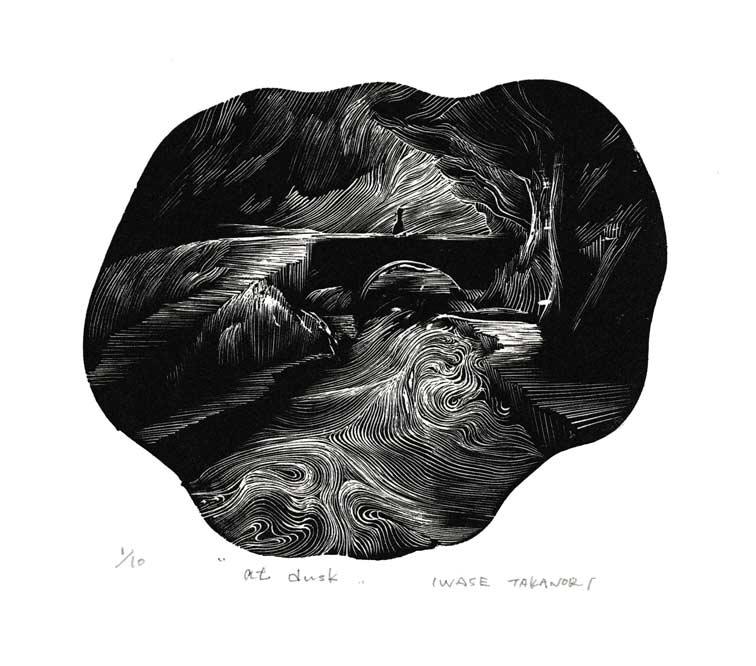 Takanori Iwase, Japan, At Dust, 2020, wood engraving, 15 x 12 cm