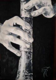 Tamara Rogozina, Ukraine, Shakuhachi, 2020, oil on paper, 29 x 20 cm