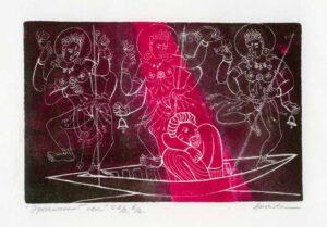 Valentina Anopova, Russia. Erotic Dream – India, 2007, engraving on copper, 9,7 x 15 cm