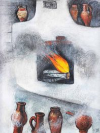Yulia Sadovskaya, Russia, How Uncle Vasya The Farmer Explained The Stove and Much More Besides, 2020, tempera, pastel, pencil on paper. 28,5 x 21 cm