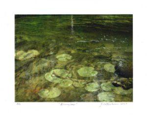Yvan LaFontaine, Canada, Némufares, 2020, digital print and buril, 26 x 20 cm