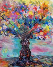 Aldina H Beganovic, Italy, Rainbow Tree, 2021, fluid and acrylic on canvas, 50 x 60 cm