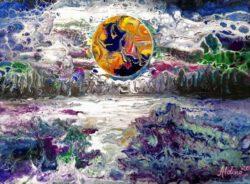 Aldina H Beganovic, Italy, Moonlight Harmony,2020, fluid acrylic on canvas, 30 x 40 cm