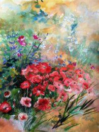 Ann Dunbar, France, Poppy Dream Monet, 2018, embroideryon watercolour, 80 x 60 cm