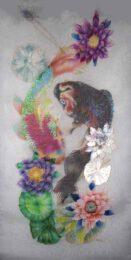 Aomi Kikuchi, Japan, Monet's Garden Carp And Lily, 2021, dye on three layered silk organza, 50 x 100 x 25 cm