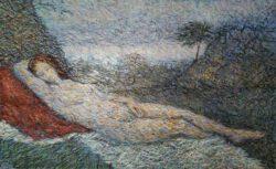 "Atom Hovhanesyan, USA, Study After Giorgione's ""Sleeping Venus"", 2016, oil on canvas, 76 x 122 cm"