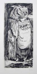 Barry Cottrell, United Kingdom, Owl, 1985/2003, burin engraving on copper, 20 x 9 cm (plate size)