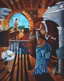 Derwin Leiva USA The Violinist 2018 Oil on Canvas 152 x 122 cm