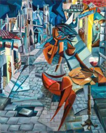 Derwin Leiva, USA, Cafe Metela, 2018, oil on canvas, 152 x 122 cm