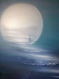 Edelgard Basalyk, France, Vive la Nuit, oil on canvas, 100 x 100 cm