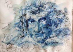 Elena Gastón Nicolás, Spain. Ludovico en el Turbon, mixed media on paper, 29 x 40 cm