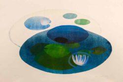 Elina Autio, Finland, In Blues, 2021, monotype, 50 x 78 cm