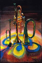 Horst Wolf, USA, Three Horn, 2018, watercolor, 56 x 76 cm