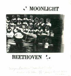 Jocelyne Benoit, Canada, Moonlight Beethoven, 2020, woodcut copper letters, 13 x 13 cm