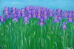 Josip Rubes, Croatia, Irises, 2020, oil on canvas, 20 x 30 cm