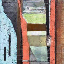 Kathleen Kilchenmann, Germany, Am Anfang des Frühlings, 2020, Mischtechnik, Collage, Papier, Sand, Asche, 100 x 100 cm