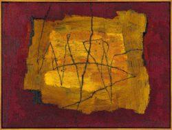 Kurt Freundlinger, Austria, Zentrale Linien, 2012, Öl, Wachs und Sand, 60 x 80 cm