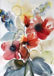 Maria Gruber, Austria, Rittersporn und Dahlien, Aquarell, 56 x 40 cm