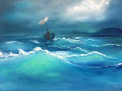 Nora Komoroczki, Hungary, Storm At Lake Balaton, 2014, oil on canvas, 60 x 80 cm