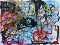 Paul Hartel, Ireland, Girl With Flowers, 2018, mixed media on canvas, 76 x 102 cm