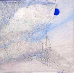 Rosa Mirambell, España, Blue Moon, 2016, oil on wood and china collée, 60 x 60 cm
