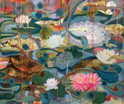 Suzan Lotus Obermeyer, USA, Red Swamp Lotus, 2020, mixed media painting on canvas, 101 x 87 cm