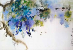 Sylviane Leblond, France, Wisteria / Glycine, 2017, chinese calligraphic painting on rice paper, 60 x 85 cm