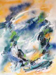 Wendy Yeo, United Kingdom, Mountain Stream, 2020, acrylic on canvas, 76 x 101 cm
